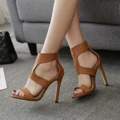 Femmes PU Talon stiletto Sandales Escarpins avec Zip chaussures