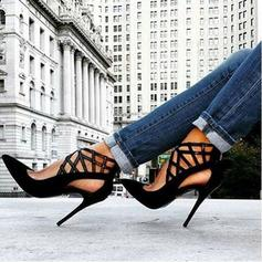 Women's PU Stiletto Heel Pumps With Elastic Band shoes