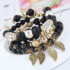 Leaves Shaped Alloy Acrylic Women's Fashion Bracelets (Set of 4)