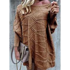 Jednolity Okrągły dekolt Casual Sukienka sweterkowa
