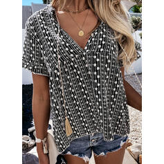 Print V-Neck Short Sleeves Button Up Casual Blouses