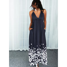Print/Floral/Backless Sleeveless A-line Skater Casual Maxi Dresses