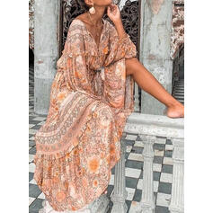 Print/Floral Long Sleeves A-line Skater Casual/Boho/Vacation Maxi Dresses