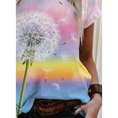 Mlecz Nadruk Okrągły dekolt Krótkie rękawy T-shirty