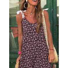 Lace/Print Sleeveless Shift Above Knee Casual/Vacation Dresses