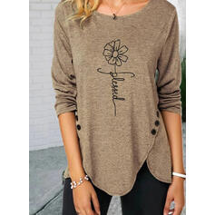 Print Floral Figure Round Neck Long Sleeves Button Up Casual Blouses