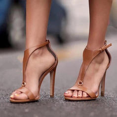 Kvinner PU Stiletto Hæl Sandaler Pumps Titte Tå med Spenne sko