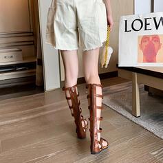 Women's PU Flat Heel Sandals With Rivet Buckle Zipper shoes