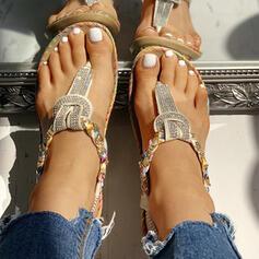 Frauen PU Flascher Absatz Sandalen Flache Schuhe Peep Toe Flip Flops mit Pailletten Schuhe
