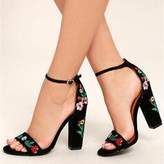 Mulheres Couro Salto robusto Sandálias com Flor sapatos