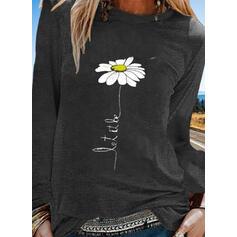 Print Bloemen Ronde Hals Lange Mouwen Casual T-shirts