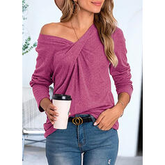 Μονόχρωμο V-λαιμός Μακρυμάνικο Καθημερινό Блузи