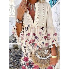 印刷/フローラル 3/4袖/フレアスリーブ シフトドレス 膝上 カジュアル チュニック ドレス