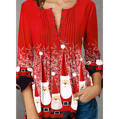 Print V-Neck 3/4 Sleeves Button Up Casual Christmas Blouses