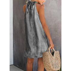 Print Sleeveless Shift Above Knee Casual/Denim Dresses