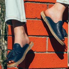Femmes PU Talon plat Chaussures plates À bout ouvert avec Tassel chaussures