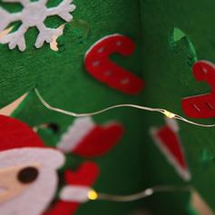 щасливого Різдва Олені Санта Настільна Неткане полотно Вогні Різдвяна ялинка