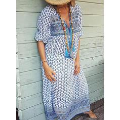 Nadrukowana Długie rękawy Koktajlowa Casual/Boho/Wakacyjna Maxi Sukienki