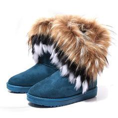 Donna Camoscio Senza tacco Stivali da neve con Pelliccia Ecologica scarpe