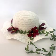 Niño de Precioso Ratán paja con Flores de seda Disquete Sombrero/Sombrero de paja/Sombreros Tea Party