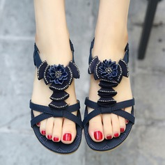 Women's Leatherette Flat Heel Sandals Flats Peep Toe With Satin Flower Elastic Band shoes