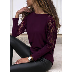 твердый кружевной Шею Длинные рукова элегантный Блузы