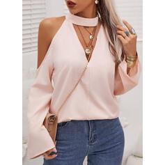 Solid Cold Shoulder Long Sleeves Casual Elegant Blouses
