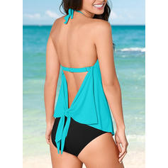 Solid Color High Cut Halter Sexy Tankinis Swimsuits