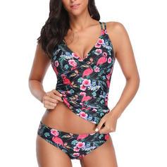 Tropické tisky Popruh Sexy Tankiny Plavky