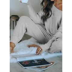 Polyester Solid Sexy 3/4 Sleeves Pyjama Set