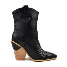 Women's Leatherette Chunky Heel Mid-Calf Boots With Split Joint shoes