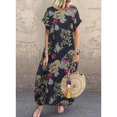 Εκτύπωση/Φλοράλ Κοντά Μανίκια Αμάνικο Καθημερινό Μάξι Сукні