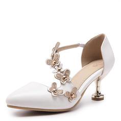 Femmes Similicuir Talon stiletto Escarpins Bout fermé avec Rivet Une fleur chaussures