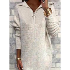 Solid Lapel Casual Long Sweater Dress
