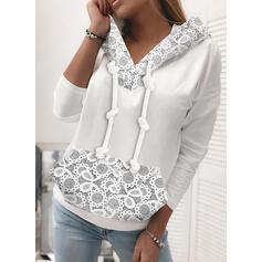 Lace Solid Long Sleeves Hoodie