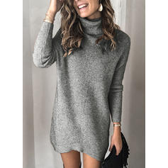 Solid Long Sleeves Shift Above Knee Casual Dresses