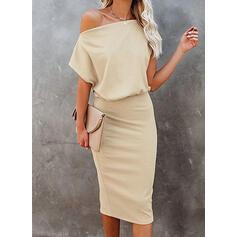Solid Short Sleeves Bodycon Knee Length Elegant Pencil Dresses