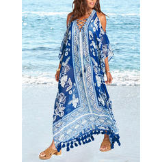 Floral V-neck Fashionable Cover-ups Swimsuits
