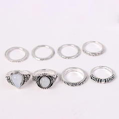 Fashionable Alloy Acrylic With Acrylic Women's Fashion Rings (Set of 8 pairs)