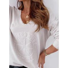 Solid V-hals Lange ermer Casual T-skjorter