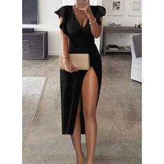 Solid Kortermer Ruffle armer A-line kjole Skater Sexy/Party Midi Kjoler