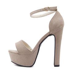 Bayanlar Süet Topuklu ayakkabı Sandalet Pompalar platform Peep Toe Ile Toka ayakkabı