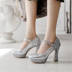 Kvinder Mousserende Glitter Stor Hæl Pumps Platform med Paillet Delt Bindeled sko