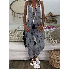Print Strap Sleeveless Casual Jumpsuit