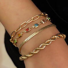 Fashionable Sexy Vintage Alloy With Imitation Stones Women's Ladies' Bracelets 4 PCS