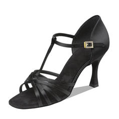 Women's Latin Heels Sandals Satin With T-Strap Latin