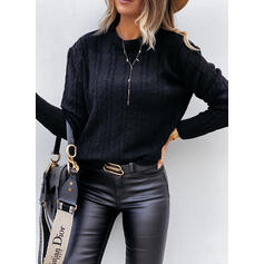 Solid Cable-knit Crew Neck Casual Sweaters