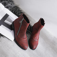 Women's Leatherette Chunky Heel Ankle Boots With Rivet Zipper shoes