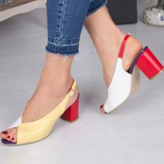 Women's PU Low Heel Pumps Peep Toe With Buckle shoes
