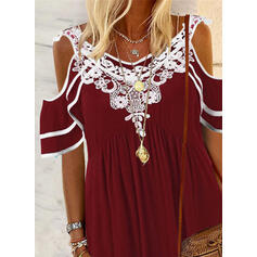 Print Lace Cold Shoulder 1/2 Sleeves T-shirts
